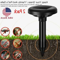 2pack solar power ultrasonic animal repeller outdoor