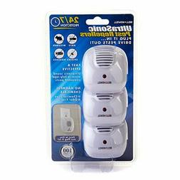 3 Pack Bell + Howell Ultrasonic Pest Repellers With Dusk-To-