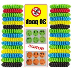 30 Pack Mosquito Repellent Bracelet Natural Waterproof Bug I
