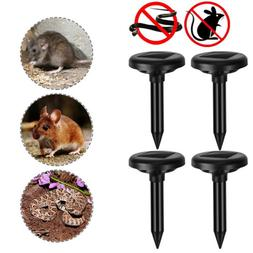 4pc Solar Power Ultrasonic Mole Gopher Pest Rodent Snake Mol
