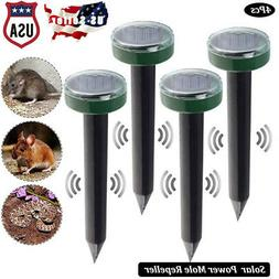 4x Solar Power Ultrasonic Sonic Mouse Gopher Mole Pest Roden
