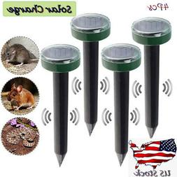 4x solar powered ultrasonic sonic mouse mole