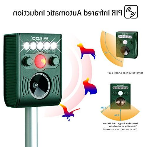 Wikoo Solar Powered Animal and Pests Repeller,Outdoor Weatherproof Repeller,Motion Activated with Flashing LED Ultrasonic Animal