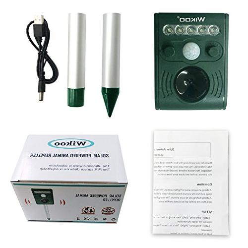 Wikoo Solar Animal and Pests Repeller,Outdoor Weatherproof Repeller,Motion Flashing LED and Ultrasonic to Animal Away