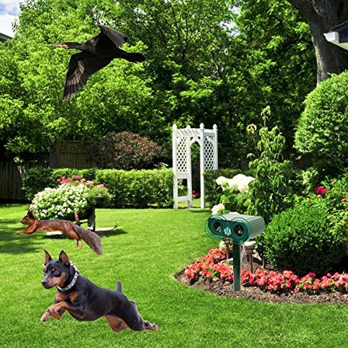 ZOVENCHI Ultrasonic Repeller, Solar Motion Red Waterproof Garden Repellent, Cats, Birds, Skunks,
