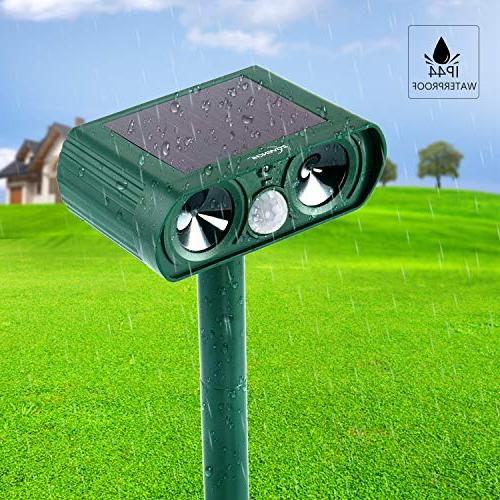ZOVENCHI Animal Solar Powered Motion Red Waterproof Garden Repellent, Cats, Dogs, Birds, Skunks,