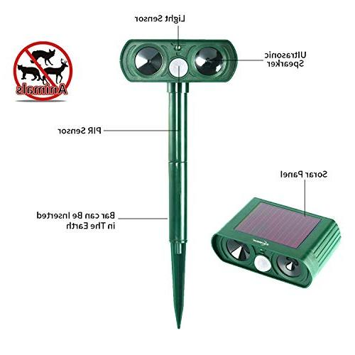 ZOVENCHI Ultrasonic Solar Powered Motion Sensor Ultrasonic Red Waterproof Farm Repellent, Cats, Dogs, Birds, Rod