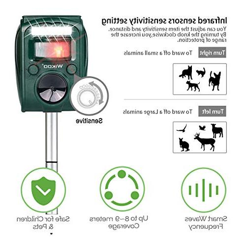 Wikoo Ultrasonic Animal Powered and Micro Activated Sensor,Repel Dogs,Cats,Squirrels and more