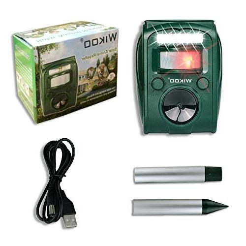 Ultrasonic Pest Repeller,Wikoo Powered Outdoor Animal Repeller and Flashing Motion - for