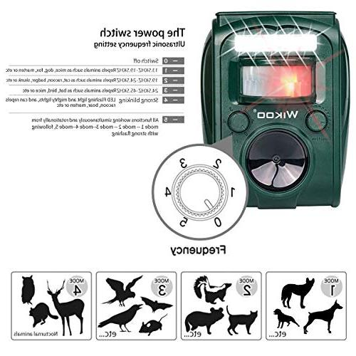 Wikoo Animal Repeller,Solar Powered and Cable Charging Outdoor Repellent Motion Activated Sensor,Repel Dogs,Cats,Squirrels and more