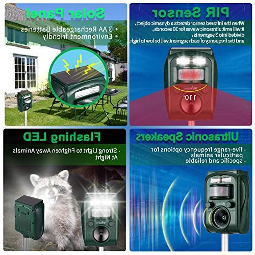 Wikomo Repeller, Solar Animal with Sound,Motion and Flashing Light pest for Cats, Dogs, Squirrels, Moles, Rats