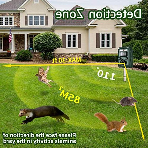 Wikomo Solar Powered Animal Sound,Motion Flashing Light Repeller Cats, Rats