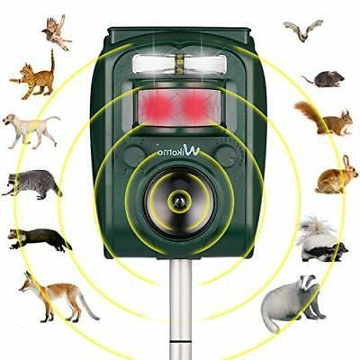 Wikomo Ultrasonic Solar Animal Repeller with Light Repeller Cats, Dogs,