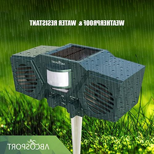 Ultrasonic Solar Animal Pest 30' Sensor, LED Light Control For Dogs, Birds Weather Design - Includes Batteries USB