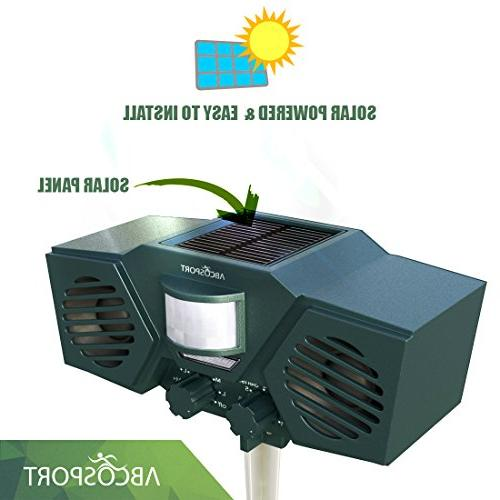 Ultrasonic Solar Animal Pest 30' Motion Sensor, LED Control For Dogs, Birds - Weather Proof Design - Includes 3 Batteries