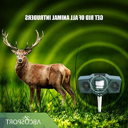 Ultrasonic Pest Repeller With 30' Motion Sensor, LED Light Control For Raccoon, Dogs, Deer, Birds - Weather Proof Design - Includes 3 & USB