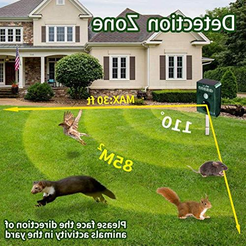 Wikomo Ultrasonic Pest Repeller, Waterproof Animal with Ultrasonic Sound, LED and Sensor Cats, Squirrels,