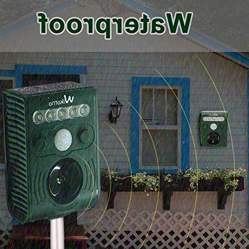 Wikomo Ultrasonic Pest Waterproof Outdoor Animal Sound, and Motion Sensor for Cats, Dogs, Rats