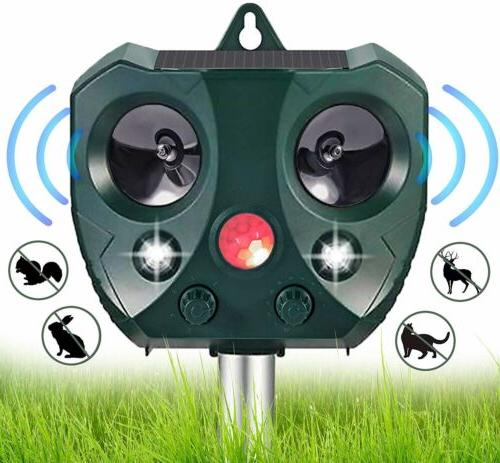 Upgraded Solar Ultrasonic Repellent Dog Cat Skunk Deer Raccoon For Garden