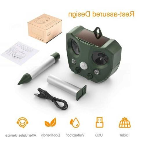 Upgraded Solar Ultrasonic Repellent Deer Raccoon For