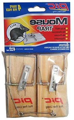 PIC MTW4INN Wood Mouse Traps, 4 pk