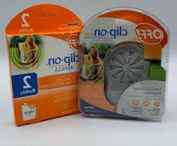 OFF! CLIP ON MOSQUITO REPELLENT FAN CIRCULATED STARTER KIT -