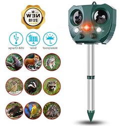 CAMTOA Solar Animal Repeller, Solar Battery Powered Ultrason