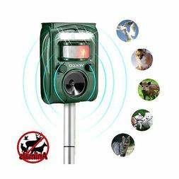 Wikoo Ultrasonic Animal Repeller,Solar Powered and Micro USB
