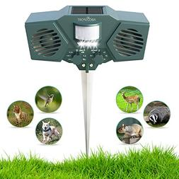 Ultrasonic Solar Animal & Pest Repeller - With 30' Motion Se